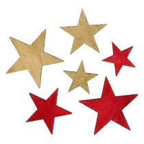 Wooden stars 3-5cm natural / red 24pcs