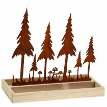 Wooden tray, forest silhouette, stainless steel rust, 30cm x 15cm