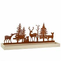 Wood tray forest with animals 50cm x 17cm