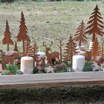 Wood tray forest with animals 35cm x 15cm