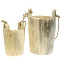 Wooden pot to hang natural 2pcs