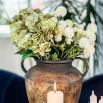 Hydrangea bouquet artificial green, brown 5 flowers 48cm
