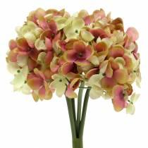 Hydrangea bunch artificial flowers pink, yellow 28cm