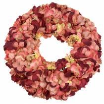 Hydrangea wreath Burgundy Ø44cm