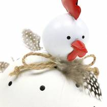 Decorative figure chicken white with dots and feathers H13cm