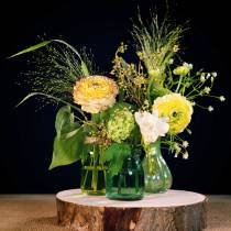 Glass vase peasant silver green H11cm 6pcs