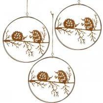 Metal pendant, hedgehog on branch, autumn decoration, decorative ring, stainless steel frame Ø15.5cm 3pcs