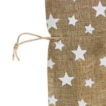 Jute sack with stars 23cm x 23cm H35cm natural