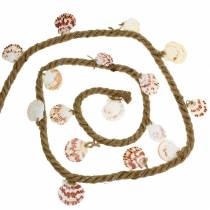 Jute cord with shells and LED 200cm decoration fish restaurant