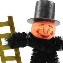 Chimney sweep with mushroom and ladder on wooden stick 8cm 24pcs