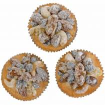 Muffins with nuts artificial 7cm 3pcs