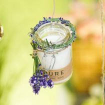 Candle in a glass decoration with lid Pure Nature wax candle beeswax olive oil