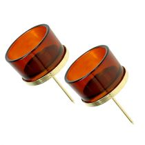 Candle holder with glass gold, brown 4pcs