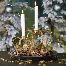 Crown with candle holder, decoration for Christmas, metal decoration, decoration crown golden Ø19.5cm H16cm