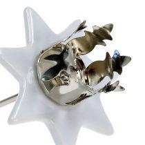 Candle holder star white-silver Ø6cm 4pcs