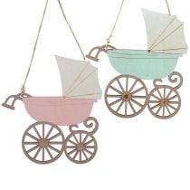 Deco hanger stroller pink / blue 16.5cm x 15cm 6pcs