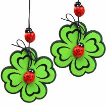 Shamrock with beetle to hang green 7cm 6pcs