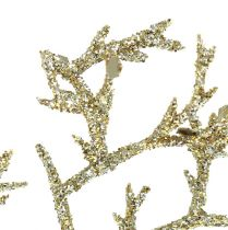 Coral branch with mica light gold 3pcs