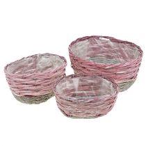 Oval basket set of 3 pink, natural