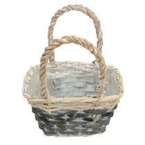 Basket with handle cream-gray 20.5cm x 14cm H13cm