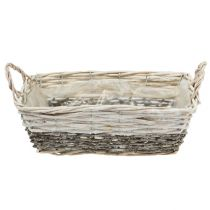 Plant basket square white washed 20x28.5 cm
