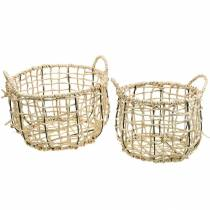 Wicker basket made of seagrass, decorative basket, storage basket, handle basket round Ø36 / 28, set of 2