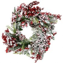 Green wreath with red berries frosted 36cm