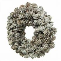 Decorative wreath cones larch and cypress white, glitter Ø20cm 2pcs