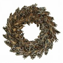 Decorative wreath cones Christmas wreath brown, glitter Ø30cm