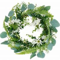 Artificial eucalyptus wreath with fern, cape daisies and jasmine, door wreath, decorative wreath, table decoration