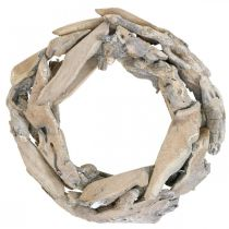 Wooden wreath root wood, white washed decoration wreath Ø30cm H8cm