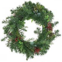 Decorative pine wreath artificial berries pine wreath table decoration Ø58cm