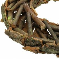 Decorative wreath with branches and bark, mossy Ø40cm