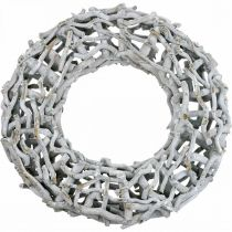 Decorative wreath wood and twigs limed gray wooden wreath large Ø60cm