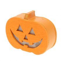 Pumpkin decoration with light 8.5cm 4pcs