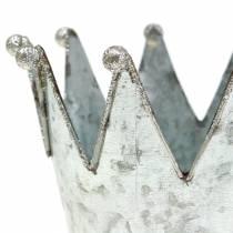 Decorative pot crown metal silver Ø13.5cm H11.5cm 2pcs