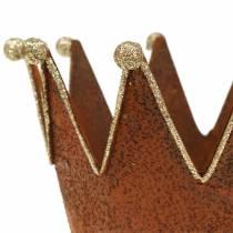 Decorative pot crown patina gold Ø13.5cm H11.5cm 2pcs