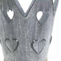 Zinc pot crown hearts gray washed set Ø12 / 14cm