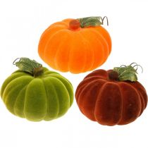 Decorative pumpkin flocked mix orange, green, red autumn decoration 16cm 3pcs