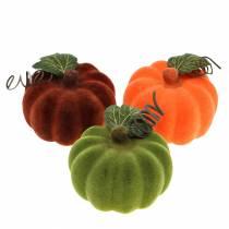 Mini pumpkin flocked orange, green, red Ø9cm 6pcs