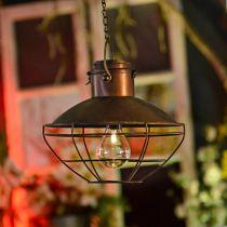 LED hanging lamp, rustic pendant lamp, solar powered Ø24.5cm H24cm