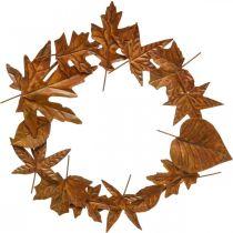 Leaf wreath noble rust, metal decoration, wreath, autumn decoration, memorial floristry Ø29cm