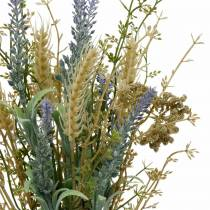 Artificial lavender bunch, silk flowers, field bouquet of lavender with ears of wheat and meadowsweet