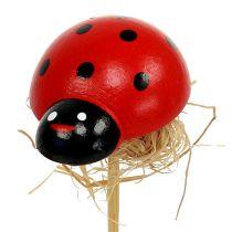 Ladybird on a wooden stick with sisal decor 3.5cm 24pcs