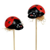 Ladybug on a wooden stick with sisal decor 5cm 24pcs