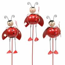Decorative plug ladybug metal H35cm 3pcs