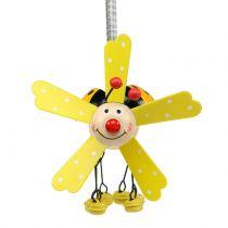 Wind chime ladybug wood yellow 12cm
