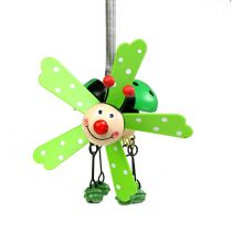 Wind chime ladybug wood green 12cm