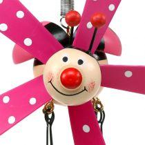 Wind chimes ladybug wood pink 12cm