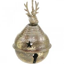Metal bells with reindeer decoration, Advent decoration, Christmas bell with stars, gold bells antique look Ø9cm H14cm 2pcs